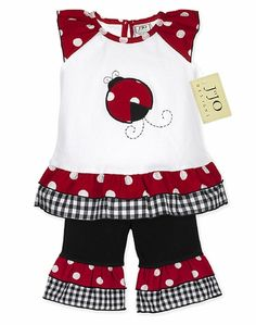 Even though I hate lady bugs this is cute! Reminds me of the outfit my mom made for me when I was little.... Wouldn't Rachael look adorable in this?!?! I miss that lttle girl! and her mama!!!