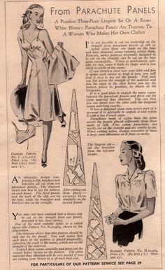 Lingerie from parachute panels; make do and mend, wartime lingerie, 1940s fashion