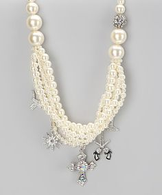 Take a look at this White Pearl Rhinestone Western Charm Necklace by Rhinestone Junkie on #zulily today!