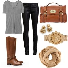 Leather pants, grey v-neck, and brown accessories. Chicly casual.