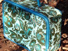 Train Case, 1970s, Suitcase, Luggage, Green Blue, Carpet Bag, Vacation, Storage, Overnight Bag, Fabric Suitcase, Travel Gear, CasaKarmaDecor by CasaKarmaDecor on Etsy