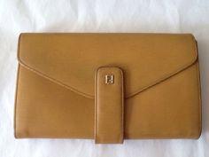 FENDI Wallet VINTAGE Yellow Accordion Many compartments  Epi Yellow Leather  #Fendi