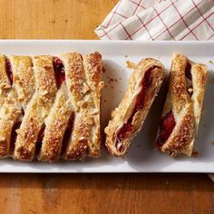 PBJ Strudel: A super-simple braid of puff pastry holds a scrumptious filling of strawberries and sweetened peanut butter. Recipe: http://www.midwestliving.com/recipe/pbj-strudel/