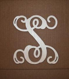 24 unpainted wooden letters vine script initial monogram wall hanging monogram door hanger