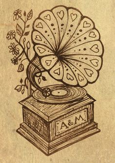 Post-Record Store Day it's easy to forget how old records are! Classic gramophone drawn for a client's wedding. Posting the full piece later.