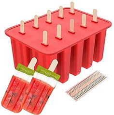 Amazon.com: Packs of 10 PCS 10-Cavity Frozen Ice Cream Pop Mold, Silicone Popsicle Mold for Toddlers, Kids and Adults - BPA Free, Popsicle Maker Lolly Mould with Cover Lid + 62 Wooden Sticks (Red): Kitchen & Dining Baby Alive Doll Clothes, Baby Alive Dolls, Star Wars Gadgets, Small Mini Fridge, Chocolate Candy Brands, Rechargeable Hand Warmers, Kylie Jenner, Kawaii Bedroom, Travel Supplies