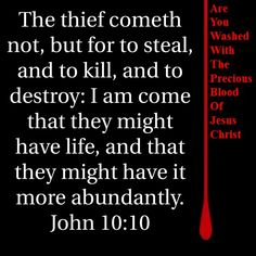 John 10:10 KJV The thief cometh not, but for to steal, and to kill, and to destroy: I am come that they might have life, and that they might have it more abundantly.