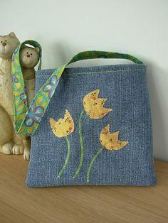 Handmade Little Girls Tote Bag - Denim with applique flowers | eBay