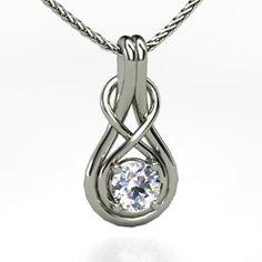 Infinity Knot Pendant, Round Diamond White Gold Necklace from Gemvara