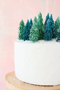 DIY paper tree forest cake topper