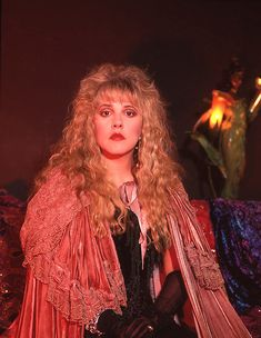 Stevie wearing her Timespace cape and surrounded by her stagewear. Editorial photoshoot by George Bodnar 1991 Look Vintage, Vintage Ladies, Stephanie Lynn, Stevie Nicks Fleetwood Mac, Joan Jett, Costume Collection, Her Style, Amazing Women, Celebs