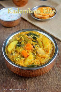 sambar sadam: 1 cup Rice(Sona masuri or equivalent) 1/2 cup Toor dal 1 potato, 1 drumstick, 1 carrot, 1 brinjal, 1 carrot, 5-6 beans 1 large Onion,diced or 6-8 Shallots 2 small Tomatoes,chopped 1 small lemon sized Tamarind 1/2 tsp Jaggery,grated 1 tsp Sambar powder 1 tbsp Andhra style Sambar powder(or prepare powder as mentioned below) 1/4 tsp Turmeric powder a pinch of Asafoetida few Curry leaves 1/2 tsp Mustard seeds 1 tbsp Oil 1 tbsp Ghee