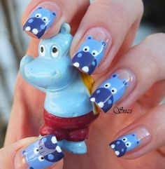 Hippo Nails for kids Love Nails, How To Do Nails, Pretty Nails, Fun Nails, Cute Nail Art, Beautiful Nail Art, Art Beauté, Nailart, Nail Art For Kids