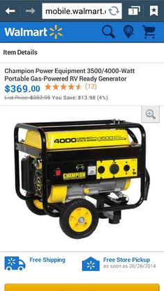4000 watt generator.  I want this for if we ever have those ice storms again I can run power inside the house