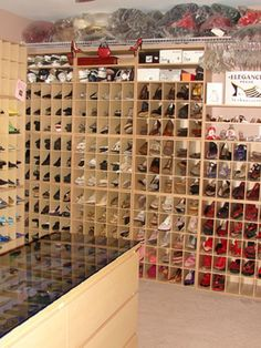 hundreds of shoes in hundreds of cubbies. love cubbies but too restrictive size/shape-wise