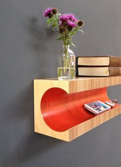 Red Shelf Wall mounted Plywood Shelf от MartinGallagher на Etsy