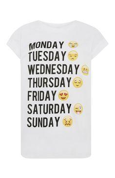 Primark - T-shirt met Emoji Weekday-print
