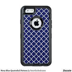 Navy Blue Quatrefoil Pattern OtterBox iPhone 6/6s Case