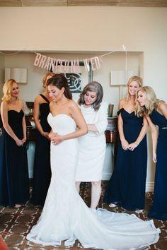 Classic Mansion Wedding | Blue, White, Blush, Red | Bridesmaids | Wedding Gown | Wedding Dress