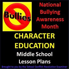 'National Bullying Awareness Month': Character education lesson plans