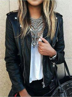Leather jacket and necklace