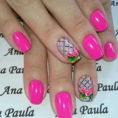 Rosadas y con flores. Fancy Nails, Diy Nails, Pretty Nails, Rose Nails, Purple Nails, Nail Polish Art, Flower Nail Art, Manicure And Pedicure, Beauty Nails