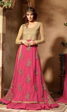 Beige and Magenta Floor Length Designer Anarkali Suit