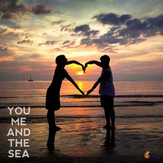 Young couple holding hands heart-shaped on the sea beach at sunset Heaven Quotes, Couple Holding Hands, Heart Hands, Beach Quotes, Made In Heaven, Photo Heart, Young Couples, Great Pictures, Images