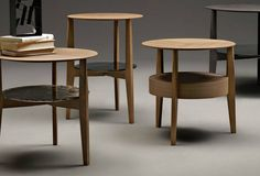 """Designed by Rodolfo Dordoni Dimensions: Small Table: 17 3/4""""Diam x 24 3/8""""H Medium Table: 19 3/4""""Diam x 19 3/4""""H Materials: Wood and Stone Made in Italy When, a series of occasional tables in solid wo"""