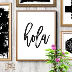"INSTANT DOWNLOAD: Hola  NO PHYSICAL PRINT INCLUDED  ★ 300DPI JPG FILES INCLUDED WITH PURCHASE ★ 1) 5""x7"" // 12x17cm 2) 8""x10"" // 20x25cm 3) 24""x30"" // 60x76cm  Our printable art typography home decor downloads include a very high quality JPG sizeable up to 24"" x 30"" (60x76 cm) at full 300dpi resolution allowing you to flexibly print and produce our inspiring designs for yourself or as gifts for your loved ones to your exact requirements! ______________________________________ Check out our…"