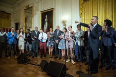 """President Barack Obama makes closing remarks following a performance of musical selections from """"Hamilton"""" in the East Room of the White House, March 14, 2016. (Official White House Photo by Pete Souza)"""