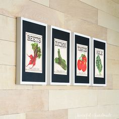 Four white picture frames with black mats highlighting vintage inspired vegetable seed packet art prints. Herb Art, Vintage Seed Packets, White Picture Frames, Diy Wood Signs, Herb Seeds, Decoration, Decorating Your Home, Vintage Inspired, Easy Diy