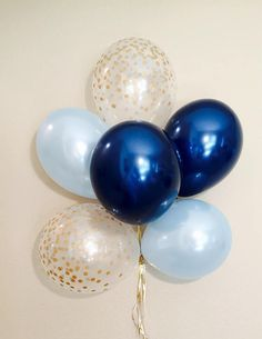 Navy Light Blue Gold Latex Balloons Navy Balloons Navy First