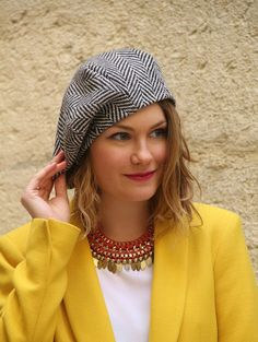 Womans fabric beret hat. Chevron fabric hat. Woolen fabric beret. French beret. Slouchy beret. Delisa collection.
