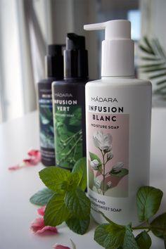 Infusion Blanc tuo mukanaan tuulahduksen Pohjoisesta kesästä ja juhannuksesta, Madaran uudet suihkusaippuat.