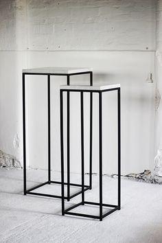 METAL FRAME PLINTHS WITH MARBLE TOPS - Display & Exhibition Plinths - PLINTHS.LONDON