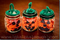 Baby Food Jar Pumpkins #Halloween #craft #kids