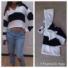 Temporary sale New MINKPINK CROP SWEATER w/ hoody New MinkPink crop sweater with a hood size : Medium    Color : Black /White MINKPINK Tops
