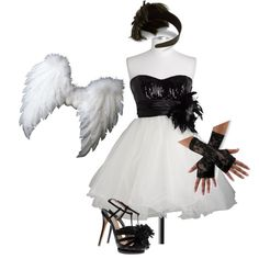 """Black/White Angel Show Choir Girls Costume"" by ariawolf80 on Polyvore"
