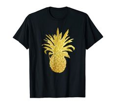 Hawaiian Pineapple T-Shirt in solid faux gold-You will feel rich wearing this uniquely faux gold designed pineapple fashion tshirt! This is a unisex tee, wear it as either casual or dressy to the beach, ocean, on summer vacation, camping, or tropical Hula parties. Women or ladies will love this as a gift for the bride apparel to wear at a bachelorette party. Men can wear this tee shirt at their next Hawaiian Tiki party or Luau looking cool and trendy. Hawaiian Tiki, Tiki Party, Tee Shirts, Tees, Bride Gifts, Hula, Pineapple, Shirt Designs, Tropical