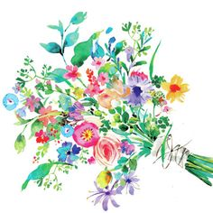 Watercolor Cards, Watercolor Print, Watercolor Flowers, Watercolor Paintings, Ink Illustrations, Illustration Art, Floral Artwork, Flower Art, Decoupage