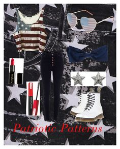"""""""America inspired outfit"""" by its-zoe-vi ❤ liked on Polyvore featuring Religion Clothing, River Island, Dr. Martens, Full Tilt, Chanel, Gorgeous Cosmetics, Mimco and Isadora"""