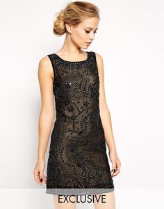 Frock and Frill Embellished Party Shift Dress in Black UK 6/EU 34/Us 2