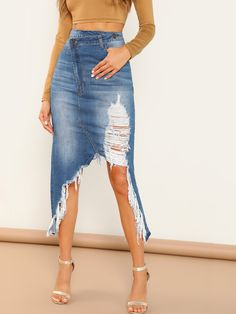 Shredded Distressed Faded Denim Back Slit Skirt -SheIn(Sheinside) Denim Skirt Outfits, Denim Outfit, Dope Outfits, Fashion Outfits, Diy Ripped Jeans, Denim Fashion, Slit Skirt, Clothes For Women, Skirts