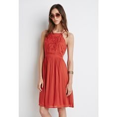 Forever 21 Women's  Embroidered Cami Babydoll Dress ($12) ❤ liked on Polyvore featuring dresses, full length dress, camisole dress, forever 21, forever 21 dresses and embroidered dress