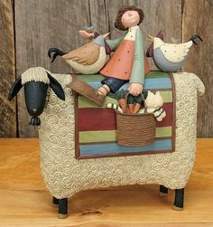 Girl on Sheep With Roosters – Everyday Folk Art Figurines & Collectibles – Williraye Studio - $35.00