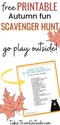 Grab this free printable fall scavenger hunt perfect for getting preschoolers, and young kids outside this autumn. Looking for kids outdoor activities this October and November? Here it is - available when you join the Take them Outside Newsletter. #fallscavengerhunt #fallfun #kidsactivities