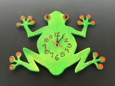 New to PondScumCeramics on Etsy: Clock Frog Clock Kids clock Wall ClockNursery clock Wall Clock Hand painted clock (62.00 USD)