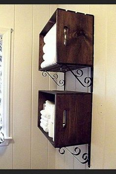 Stain or paint crates. Add a pair of shelve racks from Home Depot and Wa La.you have an attractive storage unit for towels or anything else that requires easy access. (note: Reinforce the crate by securing with screws through the wood into the wall. Wall Storage, Bathroom Storage, Crate Storage, Towel Storage, Bathroom Shelves, Extra Storage, Small Bathroom, Storage Ideas, Downstairs Bathroom