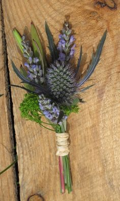 lavender and thistle boutonniere by floralartvt.com June Wedding 2010